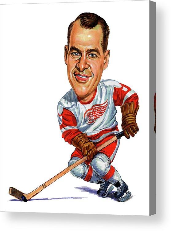 Hockey Acrylic Print featuring the painting Gordie Howe by Art
