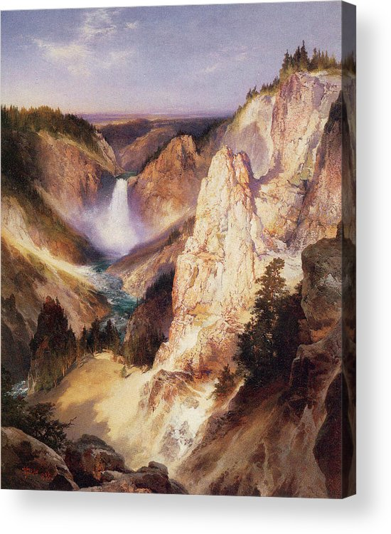 Thomas Moran Acrylic Print featuring the digital art Great Falls Of Yellowstone by Thomas Moran