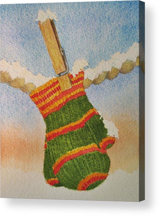 Children Acrylic Print featuring the painting Green Mittens by Mary Ellen Mueller Legault