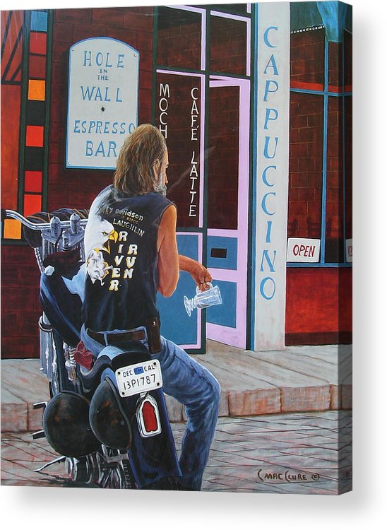 Motorcycle Acrylic Print featuring the painting Hole In The Wall by Chris MacClure