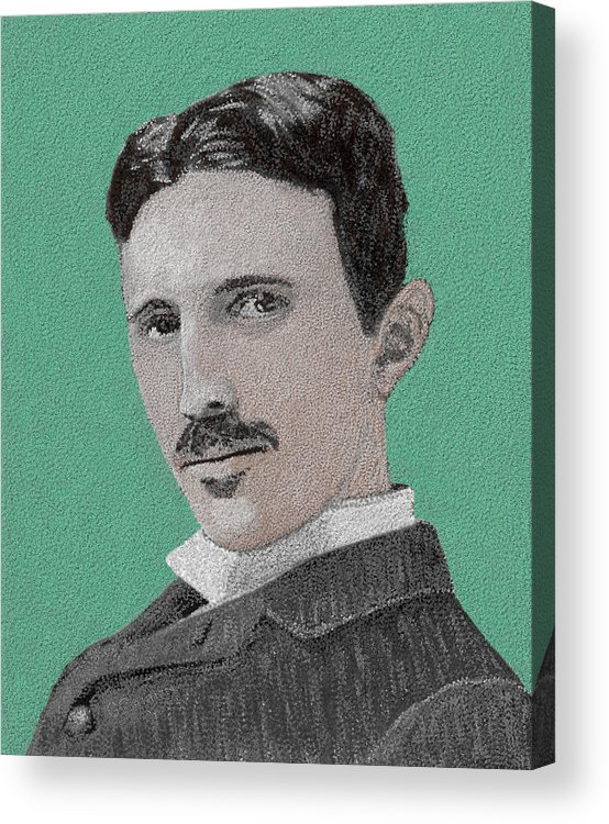 Nikola Tesla Acrylic Print featuring the painting If You Could Read My Mind...tesla by G Cannon