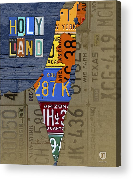 Israel The Holy Land Map Made With Recycled Usa License Plates Acrylic on map wall decor metal art, map made of books, map white on white art, map made of tools, map of united states license, map made of paper, map made of flowers, map made of buttons,