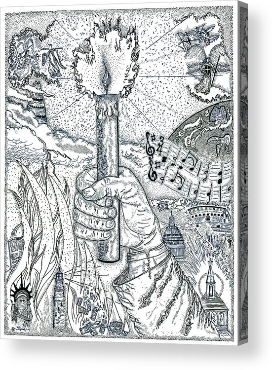 Christian Acrylic Print featuring the drawing One Candle by Glenn McCarthy Art and Photography