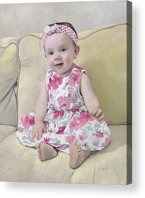 Maddie Acrylic Print featuring the painting Portrait Of Maddie by Guido Borelli