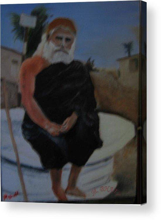 Pujya Guru Acrylic Print featuring the painting Pujya Bapji by M Bhatt