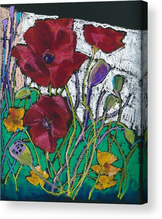 Flower Acrylic Print featuring the pastel Red Poppies by Toshiko Tanimoto