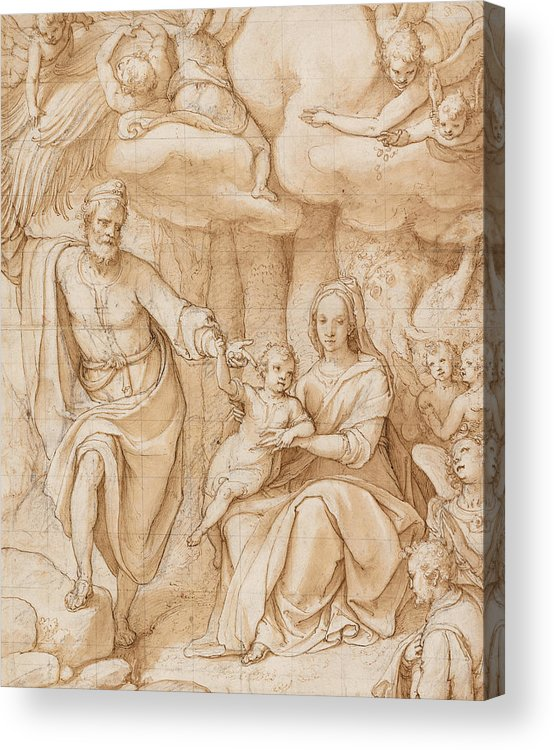 Zuccaro Acrylic Print featuring the drawing Rest On The Flight Into Egypt by Federico Zuccaro