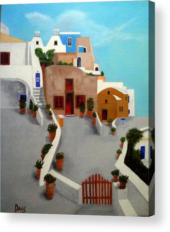 Santorini Acrylic Print featuring the painting Santorini by John Davis
