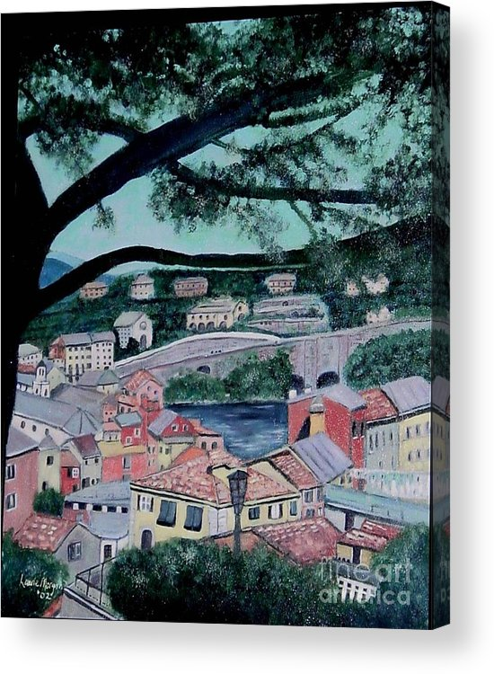 Italy Acrylic Print featuring the painting Sestri Levante by Laurie Morgan