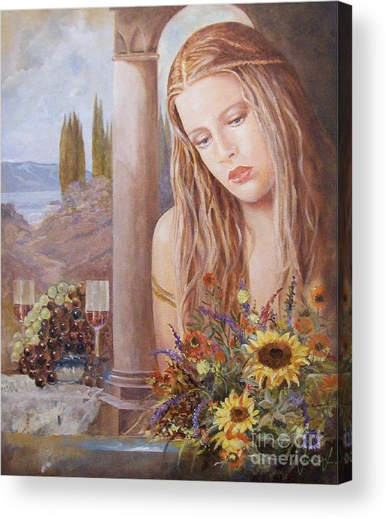 Portrait Acrylic Print featuring the painting Summer Day by Sinisa Saratlic