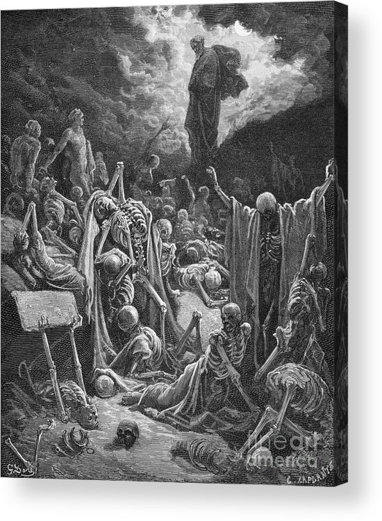 Prophet Acrylic Print featuring the painting The Vision Of The Valley Of Dry Bones by Gustave Dore