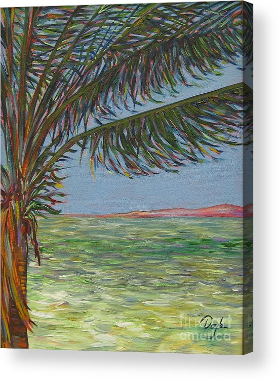 Ocean Acrylic Print featuring the painting Veiled Horizon by Karen Doyle