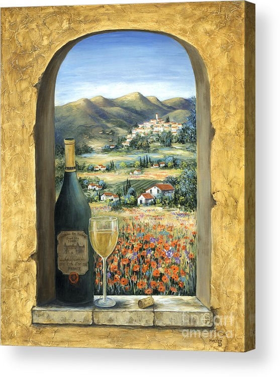 Wine Acrylic Print featuring the painting Wine And Poppies by Marilyn Dunlap