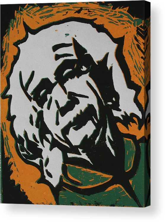 Lino Acrylic Print featuring the drawing Einstein 2 by William Cauthern