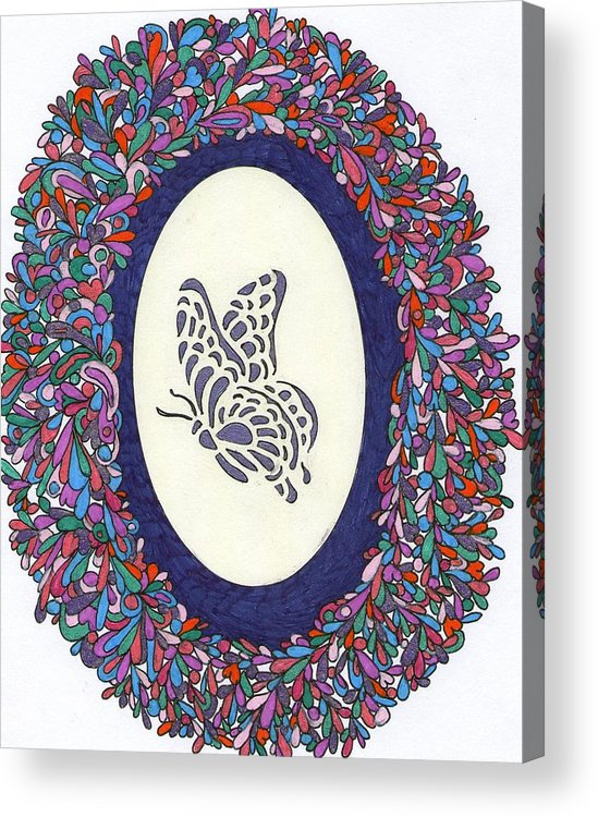 Pen And Ink Acrylic Print featuring the drawing Butterfly by Yvette Pichette