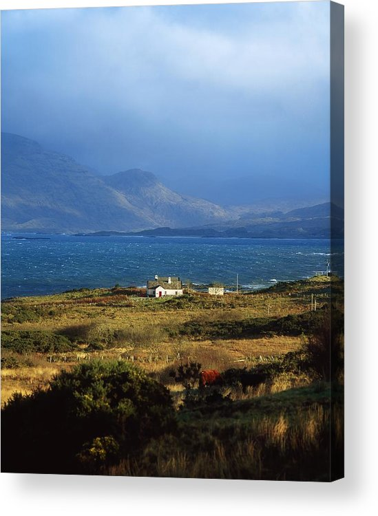 Cloud Acrylic Print featuring the photograph Cottage Near Renvyle, Connemara, Co by The Irish Image Collection