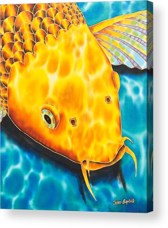 Fish Acrylic Print featuring the tapestry - textile Golden Koi by Daniel Jean-Baptiste