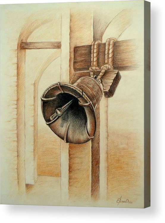Bell Acrylic Print featuring the drawing Liberty Bell by Lena Day