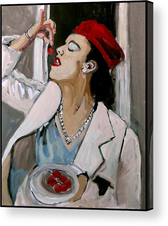 Portrait Acrylic Print featuring the painting One Cherry Less by Adam Kissel
