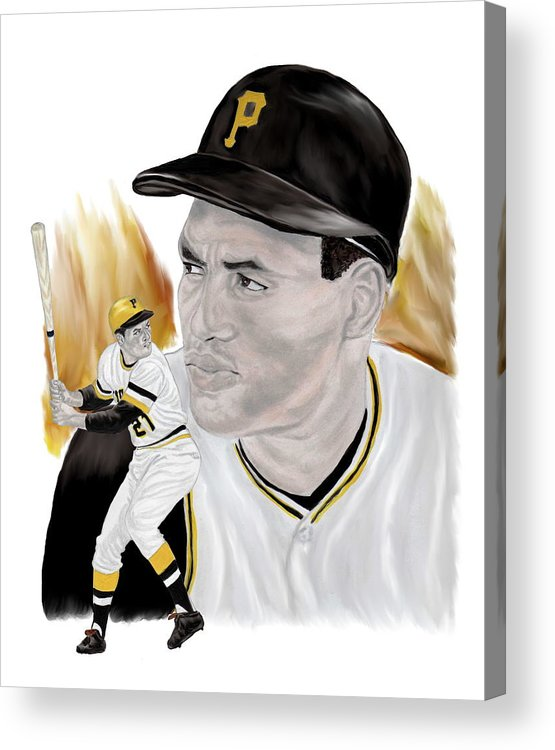 Roberto Clemente Acrylic Print featuring the painting Roberto Clemente by Steve Ramer
