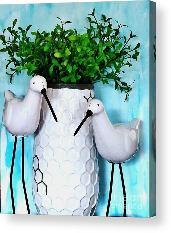 Photo Acrylic Print featuring the photograph Sandpipers By The Vase by Marsha Heiken