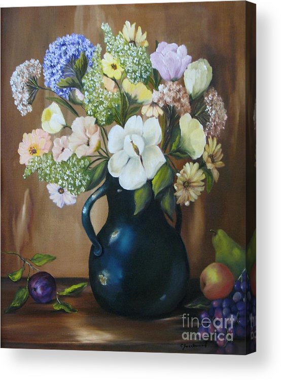 Bouquet Acrylic Print featuring the painting Garden Bouquet by Carol Sweetwood