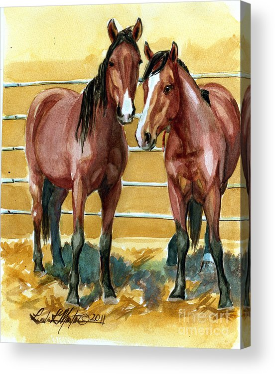 Mustang Acrylic Print featuring the painting Pick Up Day by Linda L Martin