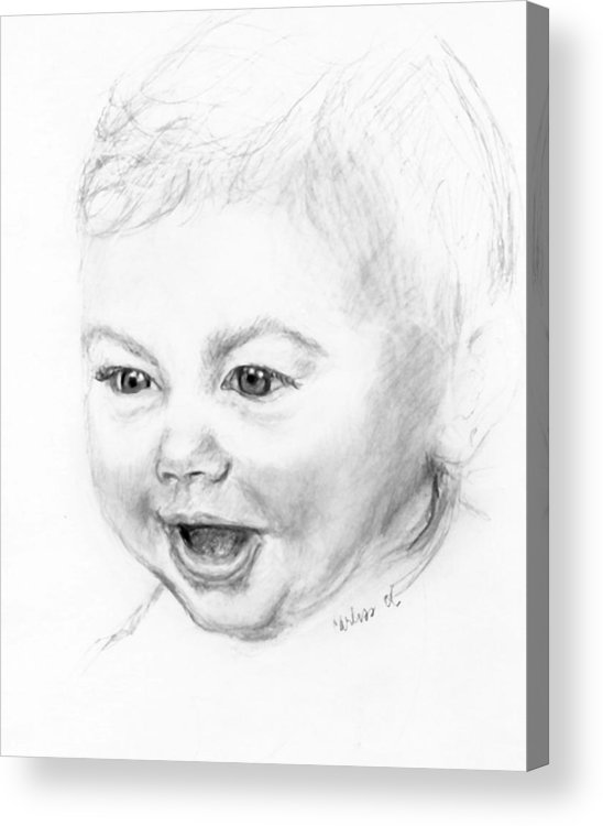 Baby Little Girl Baby Face Acrylic Print featuring the print So Excited by Carliss Mora