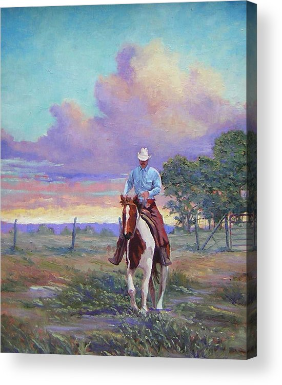 Landscape Acrylic Print featuring the painting 050617-1620  Today Is A One Man Job by Kenneth Shanika