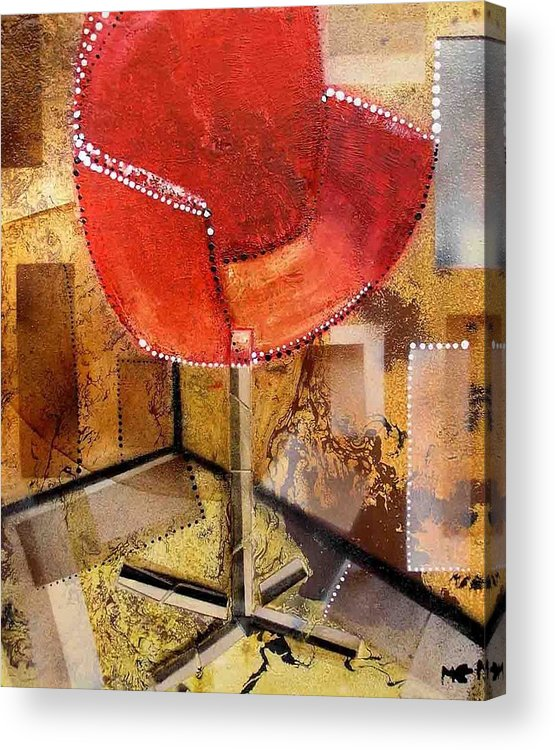 Acrylic Print featuring the painting Red Chair by Evguenia Men