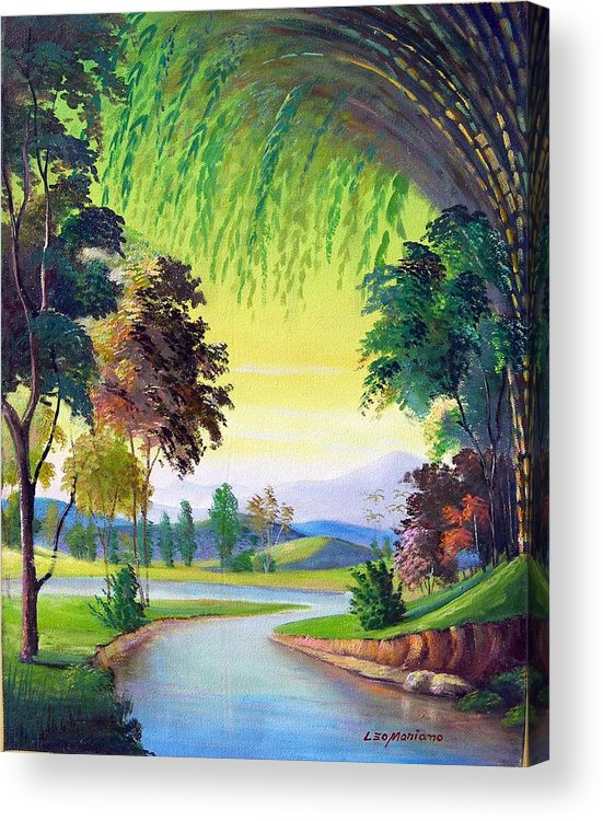 Landscape Acrylic Print featuring the painting Verde Que Te Quero Verde by Leomariano artist BRASIL