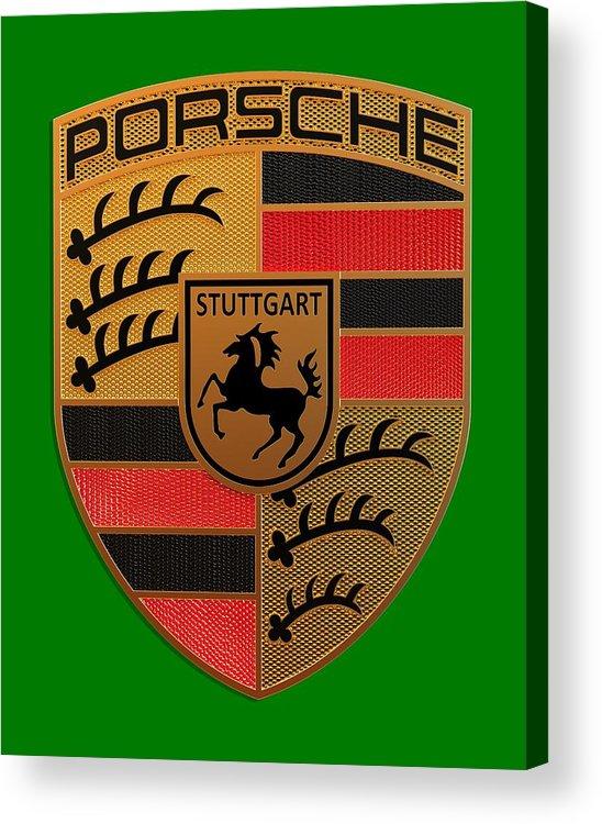 Porsche Acrylic Print featuring the digital art Porsche Label by Porsche Label