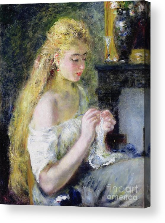 Pierre Auguste Renoir Acrylic Print featuring the painting A Girl Crocheting by Pierre Auguste Renoir