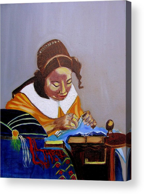 Pastiche Acrylic Print featuring the painting A Tribute To Vermeer The Lacemaker by Rusty Gladdish