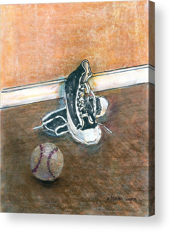 Tennis Shoes Acrylic Print featuring the mixed media After The Game by Arline Wagner