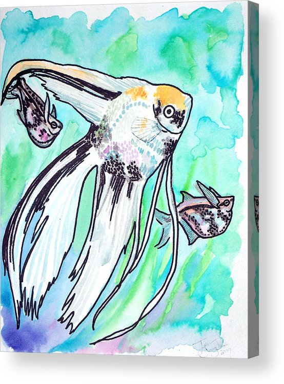 Fish Acrylic Print featuring the painting Angel Fish And Hatchet Tetras by Jenn Cunningham