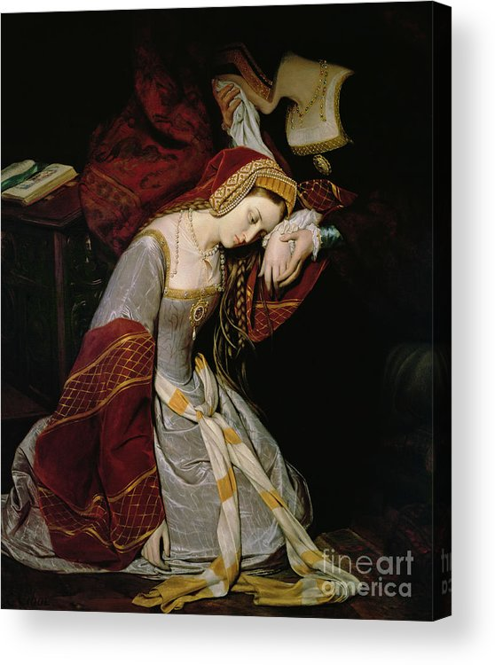 Anne Acrylic Print featuring the painting Anne Boleyn In The Tower by Edouard Cibot