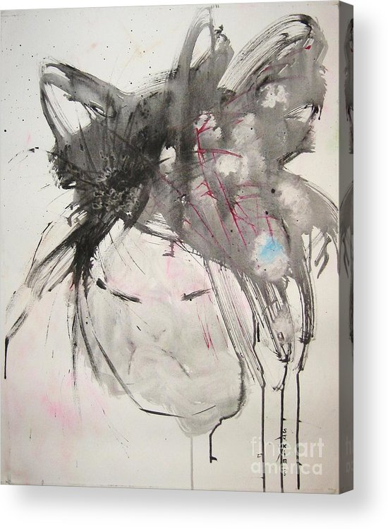 Black And White Paintings Acrylic Print featuring the painting Being Patient by Seon-Jeong Kim