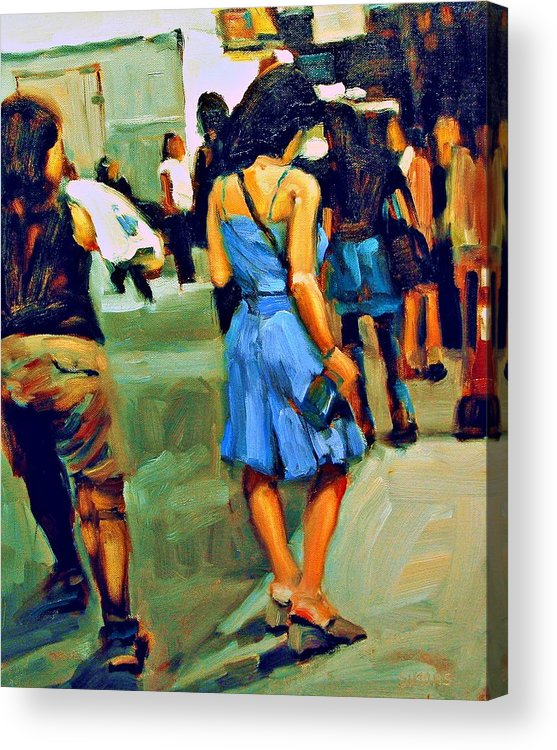 Landscape Acrylic Print featuring the painting Blue Dress by Brian Simons