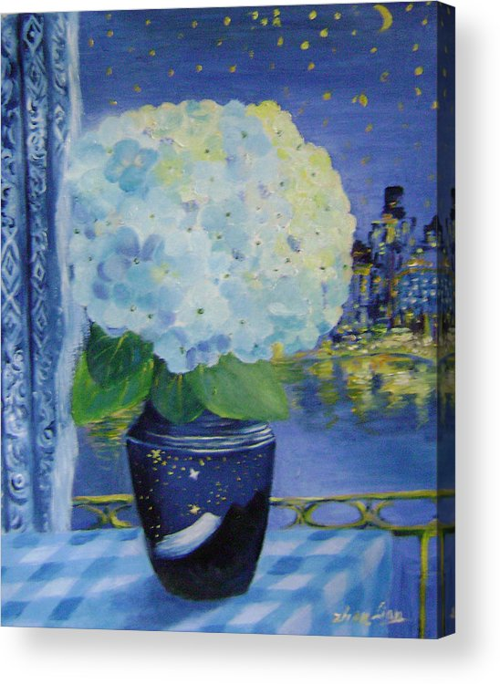 Flroal Acrylic Print featuring the painting Blue Night by Lian Zhen