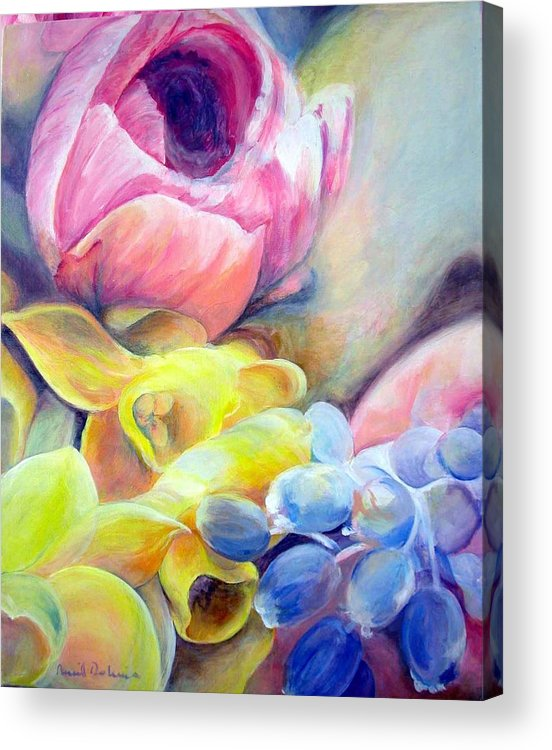 Flower Acrylic Print featuring the painting Bouquet by Muriel Dolemieux