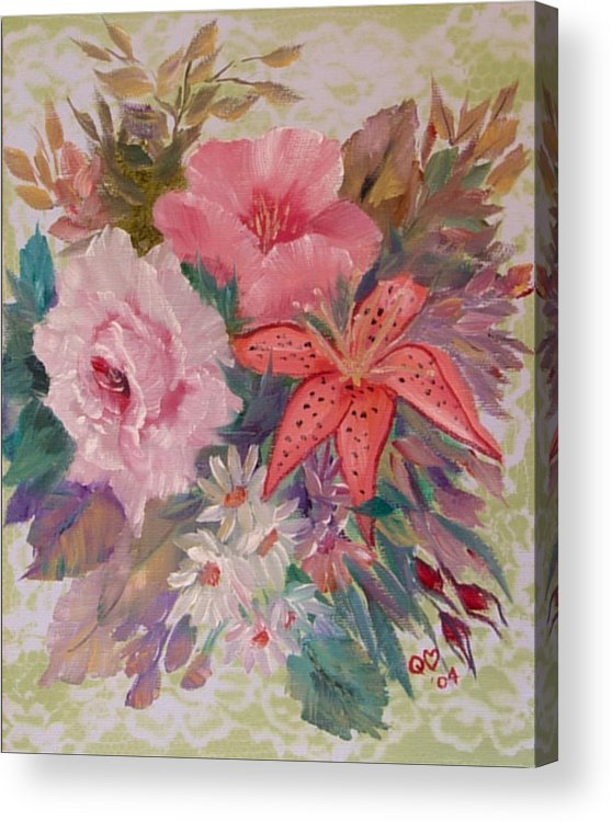 Rose Acrylic Print featuring the painting Bouquet by Quwatha Valentine