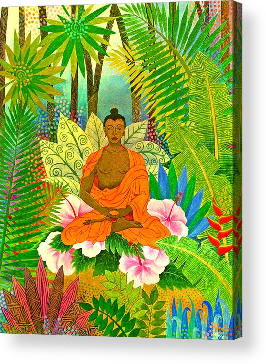 Buddha Meditation Spirtual Forest Tropical Enlightenment Acrylic Print featuring the painting Buddha In The Jungle by Jennifer Baird