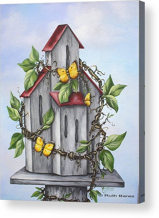 Butterflies Acrylic Print featuring the painting Butterfly House by Ruth Bares