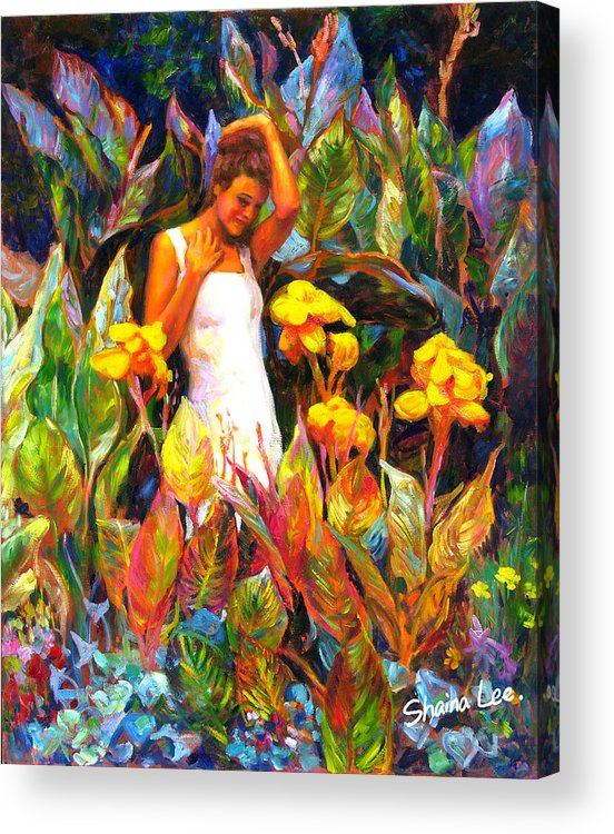 Canna Acrylic Print featuring the painting Canna by Shaina Lee