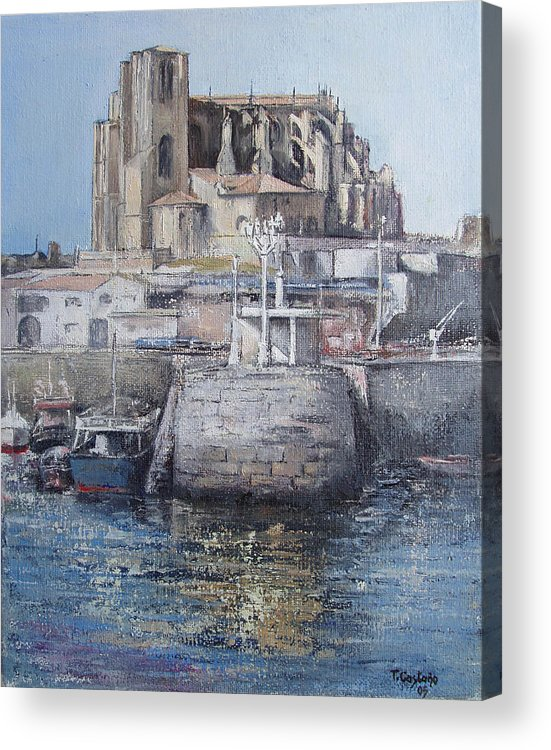 Castro Acrylic Print featuring the painting Castro Urdiales by Tomas Castano