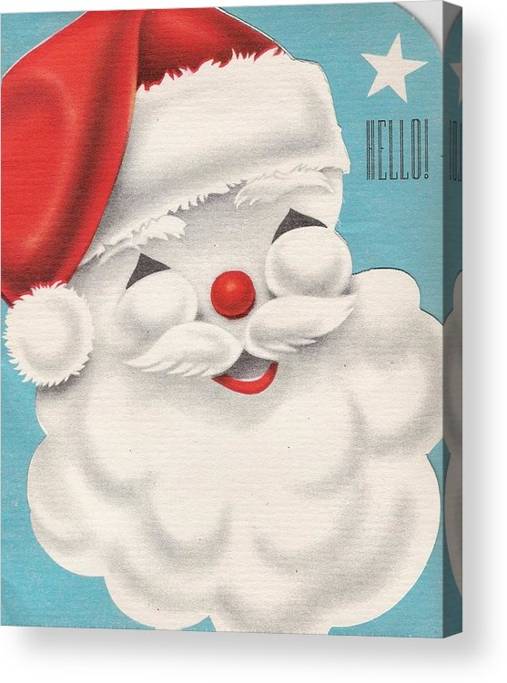 Santa Claus Acrylic Print featuring the painting Christmas Illustration 1231 - Vintage Christmas Cards - Santa Claus by TUSCAN Afternoon
