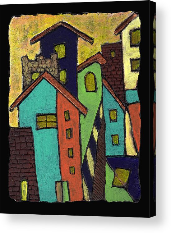 City Acrylic Print featuring the painting Colorful Neighborhood by Wayne Potrafka