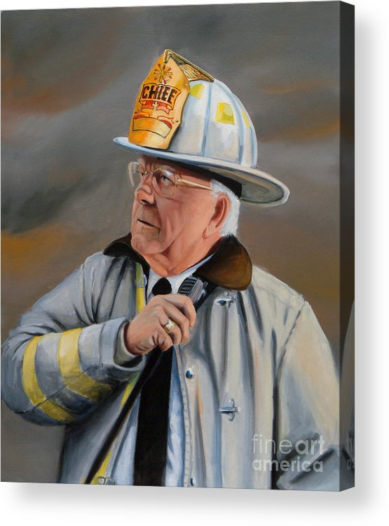 Fire Chief Acrylic Print featuring the painting Command by Paul Walsh