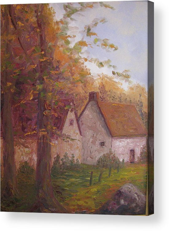 Landscape Acrylic Print featuring the painting Cottage On The Moors by Belinda Consten